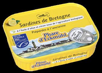 Sardines à l'huile d'olive vierge extra et au citron, en boîte 1/5, Phare d'Eckmuhl (135 g)