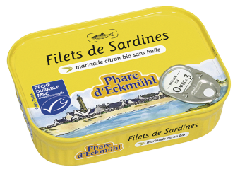 Filets de sardine marinade citron, en boîte 1/7, Phare d'Eckmuhl (90 g)
