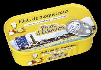 Filets de maquereaux marinés au vin blanc et aux aromates, en boîte 1/6, Phare d'Eckmuhl (118 g)