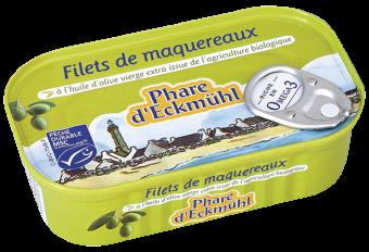 Filets de maquereaux à l'huile d'olive vierge extra en boîte 1/6, Phare d'Eckmuhl (118 g)