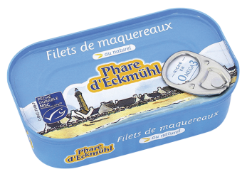 Filets de maquereaux au naturel, en boîte 1/6, Phare d'Eckmuhl (113 g)