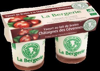 Yaourt au lait de brebis à la châtaigne des Cévennes BIO, La Bergerie (2 x 125 g)