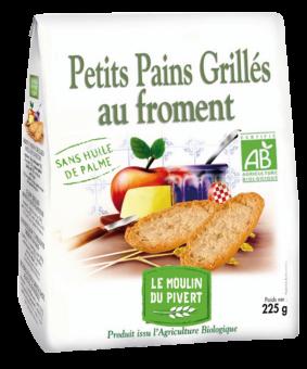 Petits pains grillés au froment BIO, Le Moulin du Pivert (225 g)