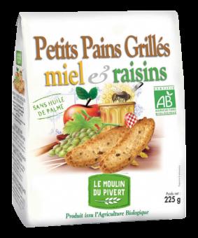 Petits pains grillés miel et raisins BIO, Le Moulin du Pivert (225 g)