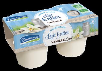 Yaourt brassé au lait entier vanille BIO, Biochamps (x 2, 250 g)