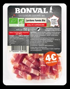 Lardons fumés BIO, Bonval (150 g)