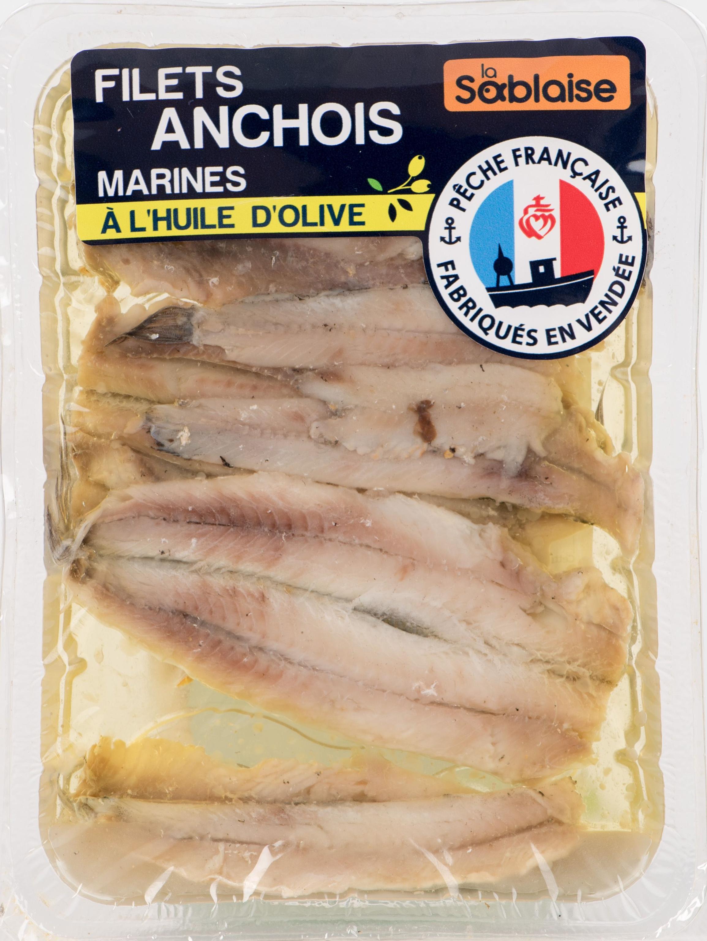 Anchois marinés à l'huile d'olive, La Sablaise (140 g)