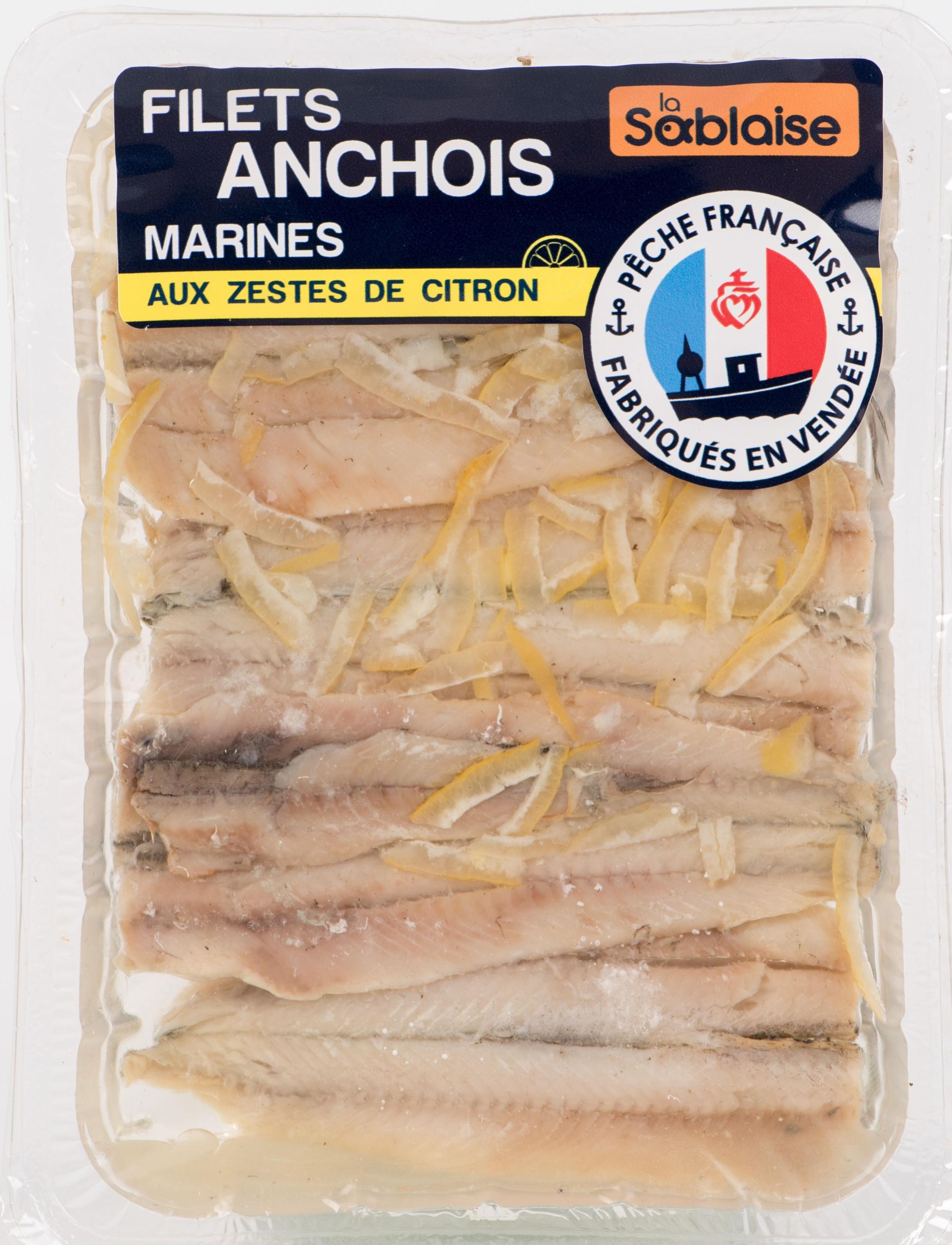 Anchois filets aux zestes de citron, La Sablaise (140 g)