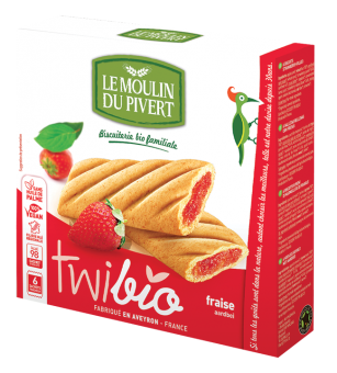 Twibio fourré fraise BIO, Le Moulin du Pivert (150 g)