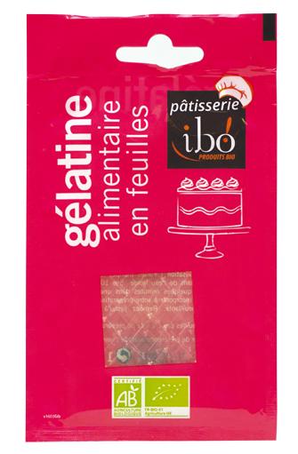 Gélatine alimentaire en feuilles BIO, Ibo (11 g)