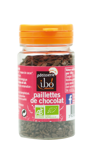 Paillettes de chocolat BIO, Ibo (60 g)