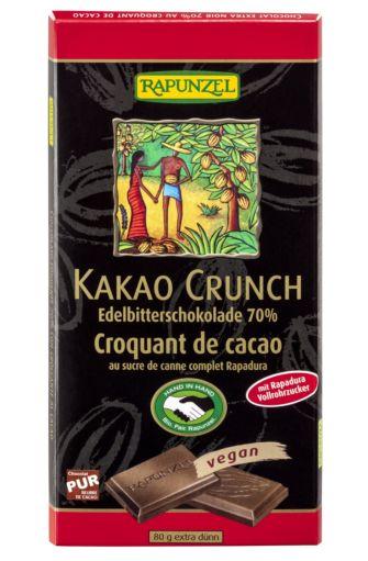 Chocolat extra noir au croquant de cacao BIO, Rapunzel (80 g)