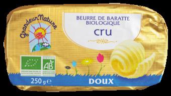 Beurre de baratte grand cru, doux BIO, Grandeur Nature (250 g)
