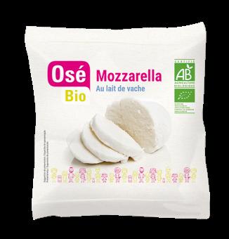 Mozzarella boule au lait pasteurisé BIO 19 % MG, Osé Bio (100 g)