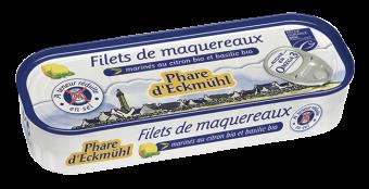 Filets de maquereaux MSC au citron et basilic, à teneur réduite en sel, en boîte 1/5, Phare d'Eckmuhl (130 g)