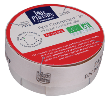 Petit camembert au lait cru BIO, 22 % MG/PF, Lait Plaisirs (150 g)
