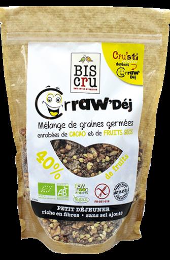 Crraw'Dej' mélange de graines germées enrobées de cacao et fruits secs BIO, Biscru (300 g)