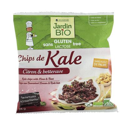 Chips de Kale citron vert et betterave Sans Gluten BIO, Jardin Bio (25 g)
