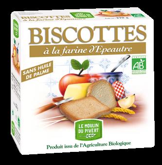 Biscottes à la farine d'épeautre, Le Moulin du Pivert (270 g)