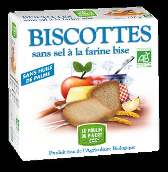 Biscottes sans sel à la farine bise BIO, Le Moulin du Pivert (270 g)