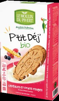 Biscuits P'tit Déj céréales et fruits rouges, Le Moulin du Pivert (190 g)