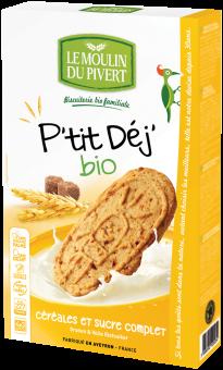 Biscuits P'tit Déj céréales et sucre complet BIO, Le Moulin du Pivert (190 g)