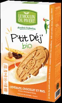 Biscuits P'tit Déj céréales, chocolat et miel, Le Moulin du Pivert (190 g)