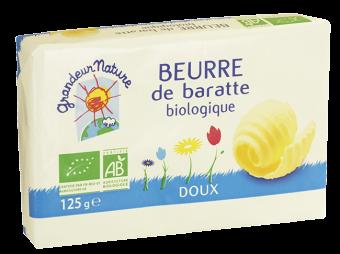 Beurre de baratte doux BIO, Grandeur Nature (125 g)