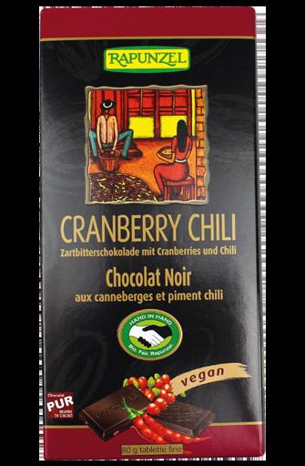 Chocolat noir Cranberry Chili BIO, Rapunzel (80 g)