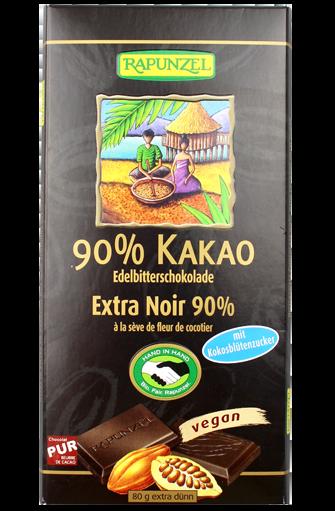 Chocolat noir 90% de cacao à la sève de fleur de cocotier BIO, Rapunzel (80 g)