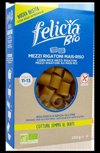 Demi rigatoni maïs & riz BIO et sans gluten, Felicia (250 g)