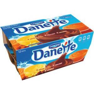 Danette panaché saveur chocolat, caramel, vanille (x 12)