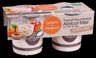 Yaourt gourmand au lait entier avec morceaux de fruits abricot/miel BIO, Laiterie du Périgord (x 2, 250 g)