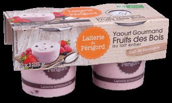 Yaourt gourmand au lait entier aux fruits des bois (fraise, framboise et baies de cassis) BIO, Laiterie du Périgord (x 2, 250 g)