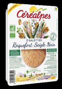 Galettes de céréales roquefort seigle et noix BIO, Céréalpes (x 2, 180 g)