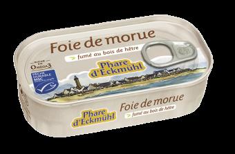Foie de morue fumé au bois de hêtre, en boîte 1/6, Phare d'Eckmuhl (121 g)