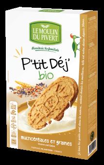 Biscuits P'tit Déj multicéréales et graines, Le Moulin du Pivert (190 g)