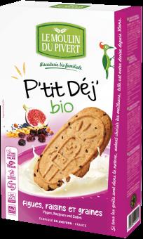Biscuits P'tit Déj figues, raisins et graines, Le Moulin du Pivert (190 g)