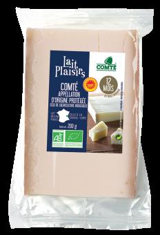 Comté AOP au lait cru, affinage 12 mois, 35 % MG/PF BIO, Lait Plaisirs (200 g)