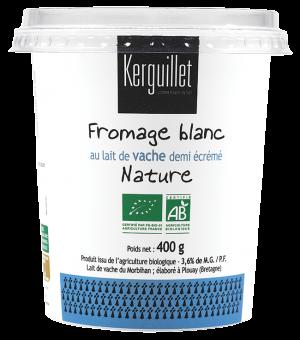Fromage blanc au lait de vache BIO, 3.6 % MG, Kerguillet (400 g)