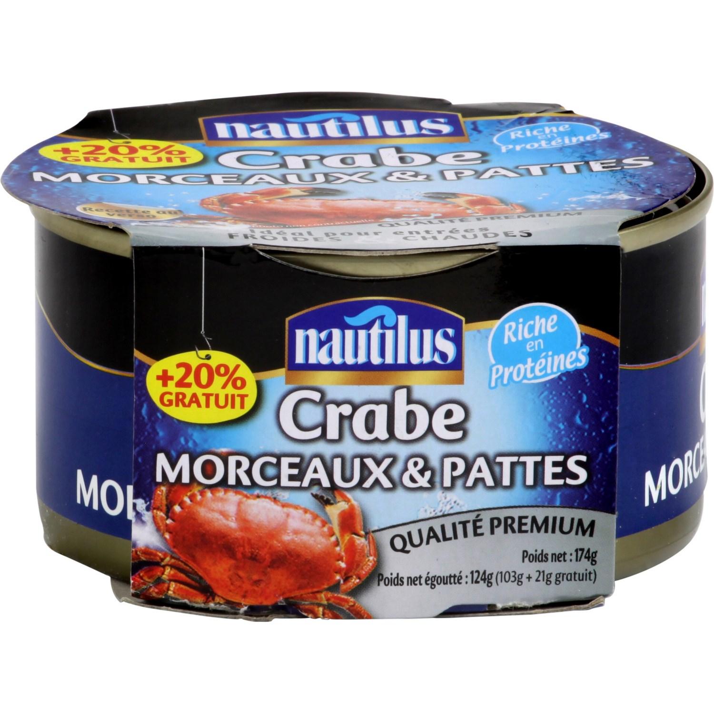 Crabe morceaux & pattes, Nautilus (124 g) // offre 20% en +