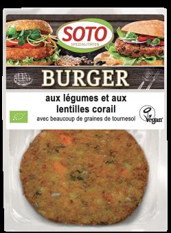Burger aux légumes et aux lentilles corail, Soto (x 2, 160 g)