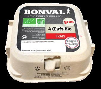 Oeufs frais BIO, Bonval (x 4, 272 g)