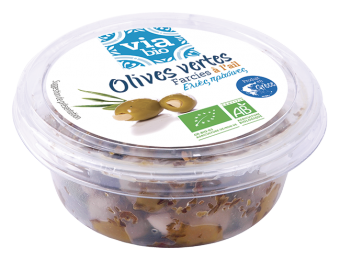Olives vertes farcies à l'ail BIO, Via bio (125 g)