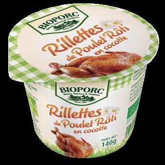 Rillettes de poulet rôti en cocotte BIO, Bioporc (140 g)