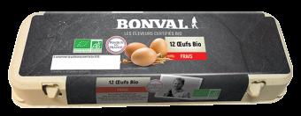 Oeufs frais BIO en boîte, Bonval (x 12, 696 g)