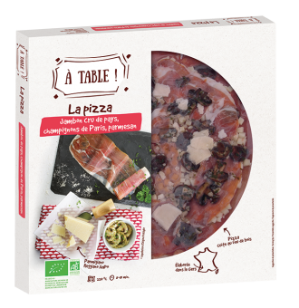 Pizza jambon cru de pays, champignons en persillade, parmesan BIO, A Table ! (400 g)