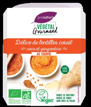 Délice de lentilles corail, coco et gingembre, au chanvre, Végétal Gourmand (150 g)