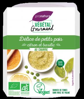 Délice de petits pois, citron et basilic, au chanvre, Végétal Gourmand (150 g)