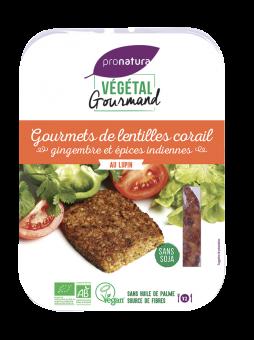 Gourmets de lentilles corail, gingembre et épices indiennes, au lupin, Végétal Gourmand (x 2, 180 g)